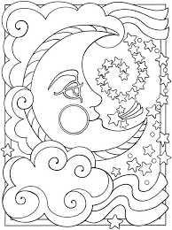Moon Coloring Pages With Clouds And Stars