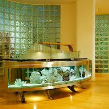 ein aquarium vor einer glasbausteinwand bild kaufen