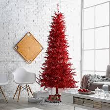 Red Tiffany Tinsel Pre Lit Christmas Tree By Sterling Company