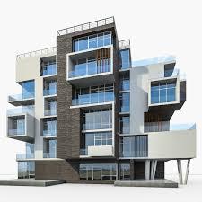 Modern Residential Building 3D Model In Buildings 3DExport