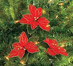 Christmas Tree Amazonca by Pack Of 12 Red Glitter Poinsettia Christmas Tree Ornaments