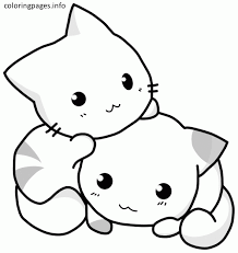 Elegant Cute Cat Coloring Pages For Picture Page With