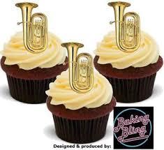 Image Is Loading 12 Novelty Tuba Musical Instrument Edible Fairy Cake