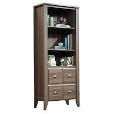 Sauder Shoal Creek 4 Shelf Bookcase With 2 Doors Diamond Ash by