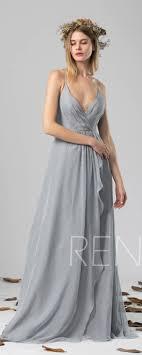 Bridesmaid Dress Medium Gray Chiffon Dress Wedding Dress V Neck
