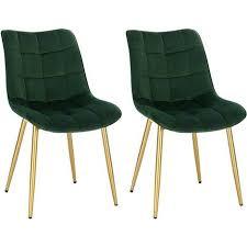 2er set küchenstühle aus samt goldene beine elif dunkelgrün
