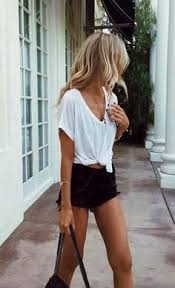 Lizziespiker Outfits With White ShortsCasual Summer ShortsBlack