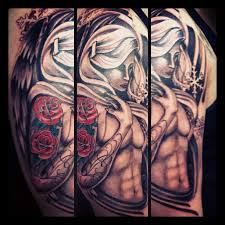 Angel With Roses Tattoo On Modern And Half Sleeve Tattoos For Guys