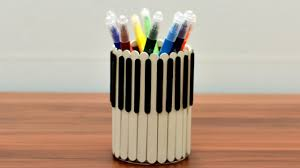 Popsicle Piano Pencil Holder Decoration Diy Art Craft Tutorial Ideas Hacks How To Ice Cream Stick