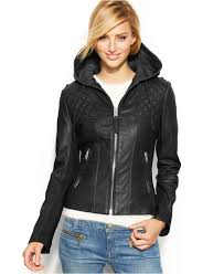 Michael Kors Plus Size Hooded Leather Jacket with Quilted Panels