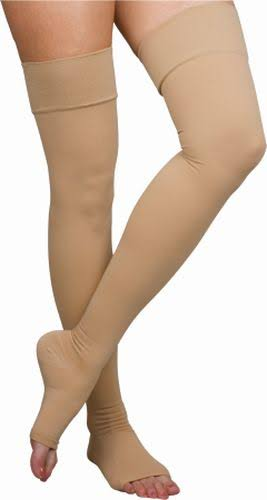 Thigh-High Compression Stockings Open Toe Medium Beige Pair