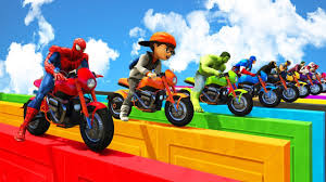 100 Trucks Videos For Kids Learn Colors With SuperHeroes On Motorcycles And