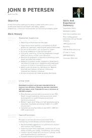 Sample Resume Manufacturing Related Post Production Supervisor