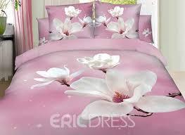 Vivilinen 3D White Magnolia Printed Cotton 4 Piece Light Pink