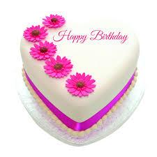 Heart shape Happy Birthday cake