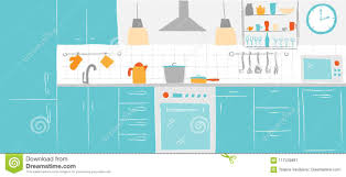 Download Kitchen Interior Color Sketches Hand Drawing Front View Contour Vector Illustration Furniture And