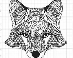 Mandala Style Fox SVG PDF EPS Dxf Studio 3 Cut Files