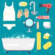 bad ausrüstung icons moderne dusche bunte illustration für badezimmer innenraum hygiene vektor design