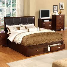 King Platform Bed With Headboard by Shop Furniture Of America Enrico Brown Cherry King Platform Bed