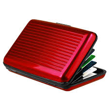 zodaca red business aluminum id credit card wallet case holder