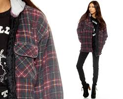 hooded flannel shirt navy blue plaid jacket 90s grunge 1990s