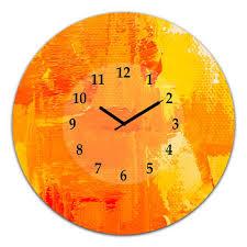 orange einfarbig moderne kunst malerei große wanduhr