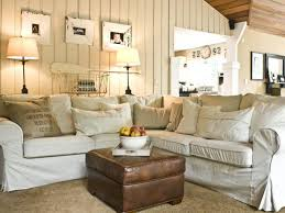Attractive Cottage Sitting Room Interior Design And Decorating Ideas Rustic Wooden House Living With White Fabric Tufted Sofa Leather Ottoman Vertical
