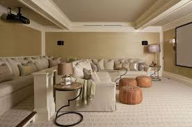 Taupe Sofa Living Room Ideas by Basement Movie Room Ideas Transitional Basement Anik Pearson