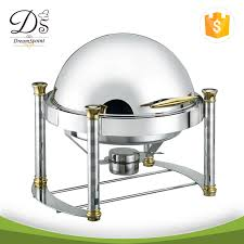 Round Dish With Gollden Hotel Electric Chafing For Catering