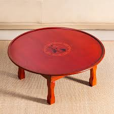 asiatischen stil antike runde tisch klapp beine 75 90 cm wohnzimmer möbel korean boden esstisch holz niedrigen kaffee tisch