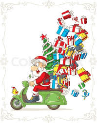 Illustration Of Santa Claus Riding Scooter Delivering Christmas Presents