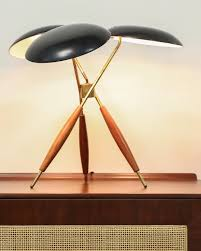 Sealight Floor Lamp Replica by Rare Mushroom Shade Tripod Floor Lamp In Brass Walnut And