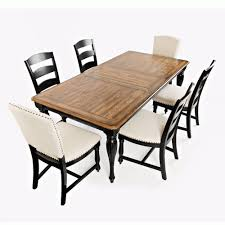 Castle Hill Antique Black Oak 7 Piece Dining Set Rectangular Table With 4 Side Chairs And 2 Upholstered