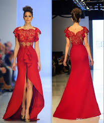 mermaid backless red lace evening dress satin cap sleeve sheer