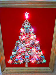 Ebay Christmas Trees With Lights by Framed Vintage Costume Jewelry Lighted Christmas Tree Lights Red