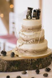Hessian Log Bunting Cake Squirrel Topper Soft Whimsical Natural Rustic Wedding Emilyhannah
