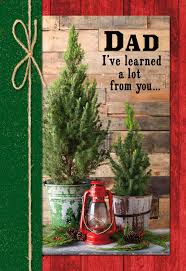Rustic Pine Trees Christmas Card For Dad