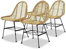 vidaxl 4x esszimmerstuhl rattan natur küchenstuhl essstuhl stuhl stuhlgruppe