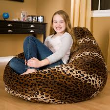 Gold Medal Fashion Large Faux Suede Animal Print Teardrop Bean Bag Chair