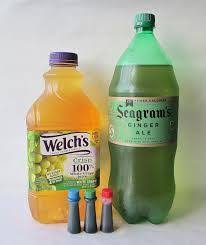 Add The Containers Of Juice TogetherAdd Food Color To Give Punch A Certain You Can Use Any Brand Grape Ginger Ale