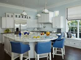 Kitchen Island With Seating For 4 Marble Countertops Bench White Cabinets Hardwood Floors Subway Tile Backsplash