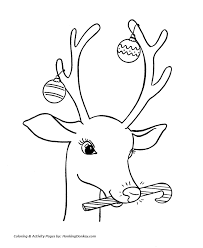 Christmas Decorations On Santas Reindeer Kids Coloring Page
