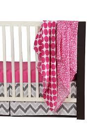 Bacati Crib Bedding by Bacati Ikat Pink Grey 4 Crib Set With 2 Muslin Blankets