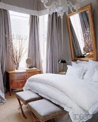 Bedroom Grey With Purple I Love How The Drapery Frames Window And Falls Almost Messily To Floor Gold All White Bedding Are So
