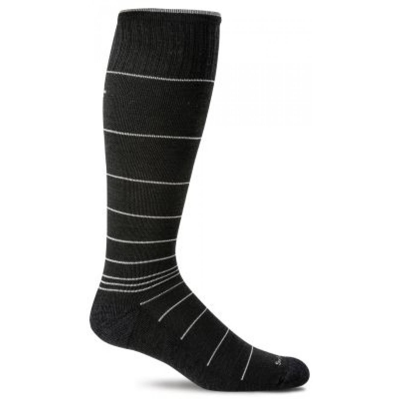 Sockwell Men's Circulator Compression Socks - Large-X-Large, Black Stripe