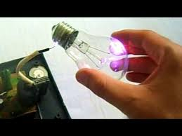 high voltage into a light bulb plasma globe
