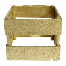 Square Wooden Crate Open Bottom Gold