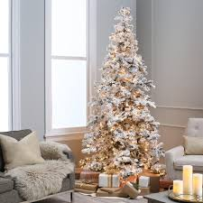 Snowy Dunhill Christmas Trees by Heavy Flocked Layered Spruce Pre Lit Christmas Tree By Sterling
