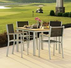 Aluminum Sling Stackable Patio Chairs by Amazon Com Oxford Garden Travira Aluminum And Teak Armchair