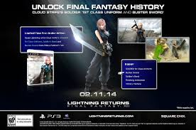Theatrhythm Final Fantasy Curtain Call Dlc by Pre Order Lightning Returns To Get Cloud U0027s Uniform And Buster